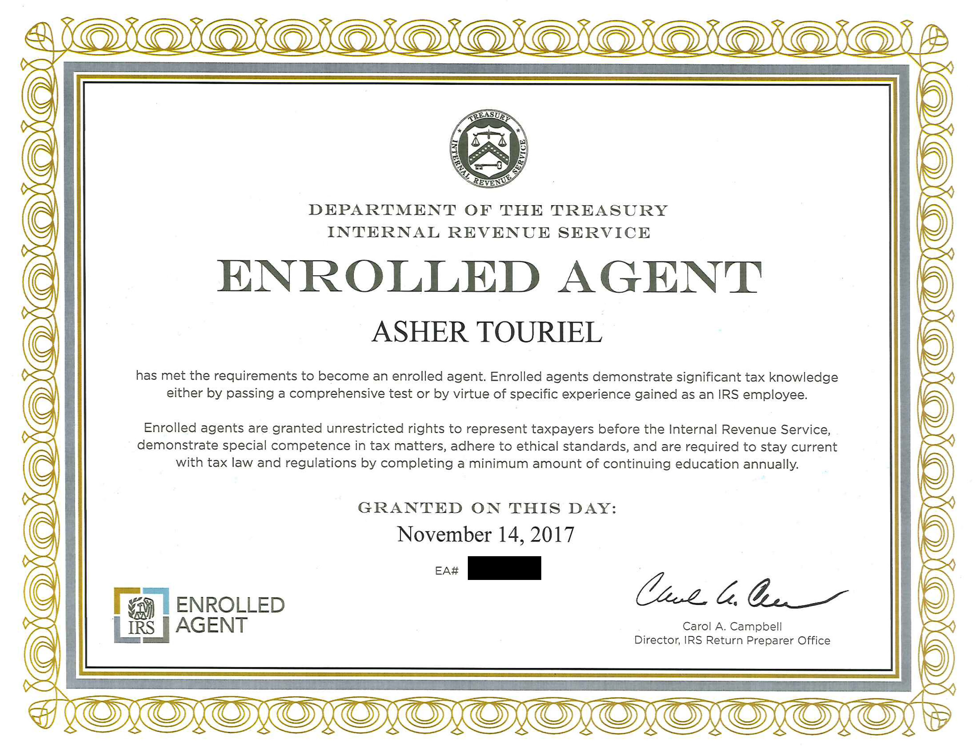 Ea with blackg certificate enrolled agent 1betcityfo Choice Image